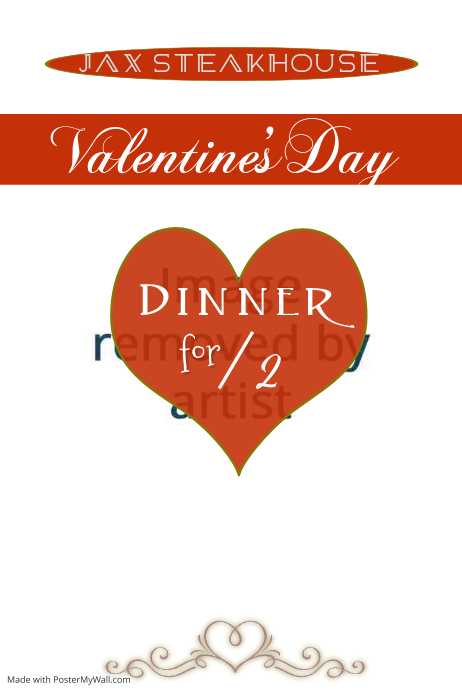 Valentines Day Dinner Poster Template Postermywall