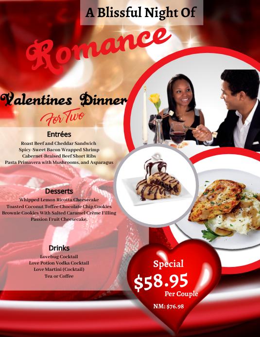 Valentines Day Dinner Flyer Template Løbeseddel (US Letter)