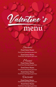 valentines day dinner Menu Template Halfbladsy Breed