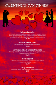 valentines day dinner menu template