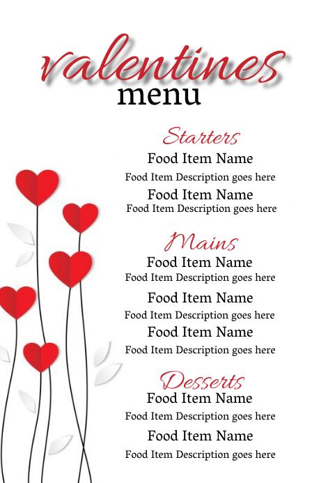 valentines day dinner Menu Template Wide Setengah Halaman