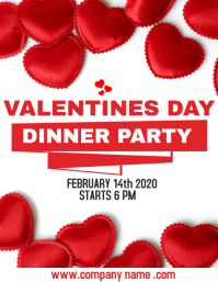 Valentines day dinner party hearts flyer