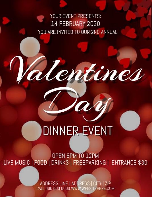 Valentines Day Event Flyer Løbeseddel (US Letter) template