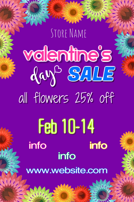 Valentines Day Floral Sale Poster Template