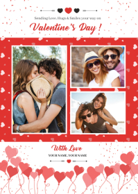 Valentines Day Greeting Card A6 template