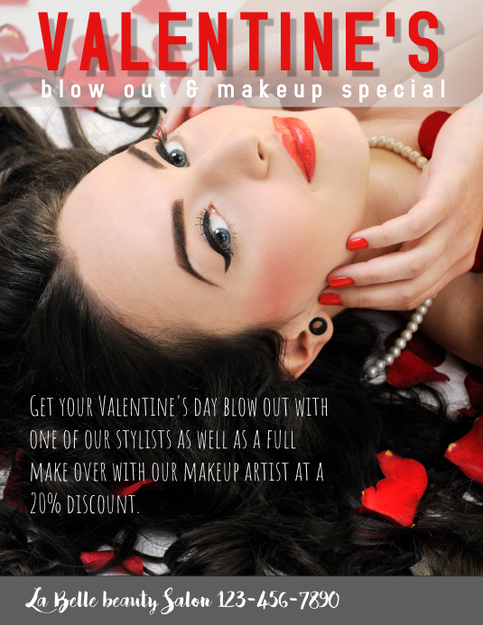 Valentines Day Hair Beauty Salon Special Flyer