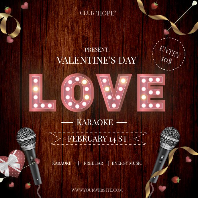 Valentines Day Karaoke Instagram Post Template