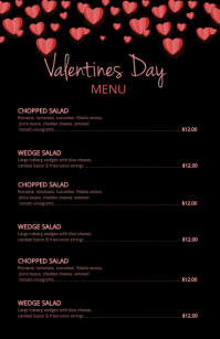 Valentines Day Menu Halve pagina breed template