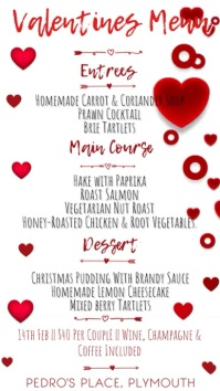 Valentines Day Menu Digital Template