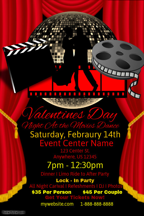 Valentines Day Night At The Movies Dance Template Postermywall