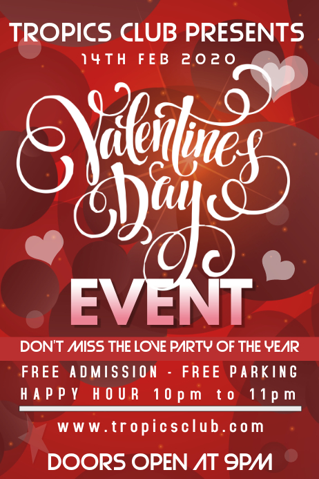 Valentines Day Party Event Flyer Poster Template Postermywall