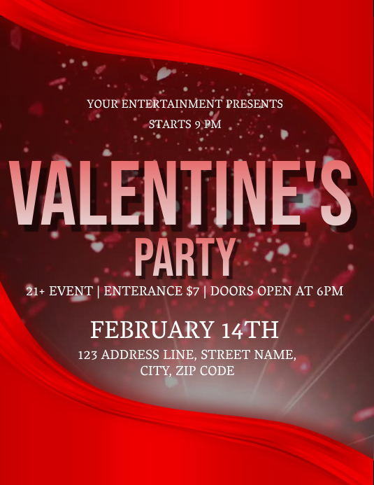 Valentines Day Party Event Flyer Template
