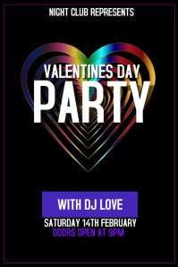 Valentines day party event portrait poster template
