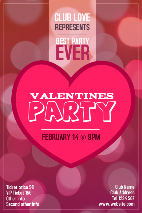 Valentines Day Party Event Portrait Poster Template Postermywall