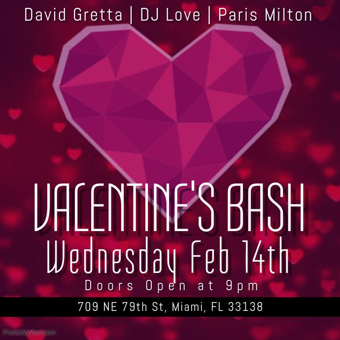 Valentines Day Party Event Social Media Template | PosterMyWall