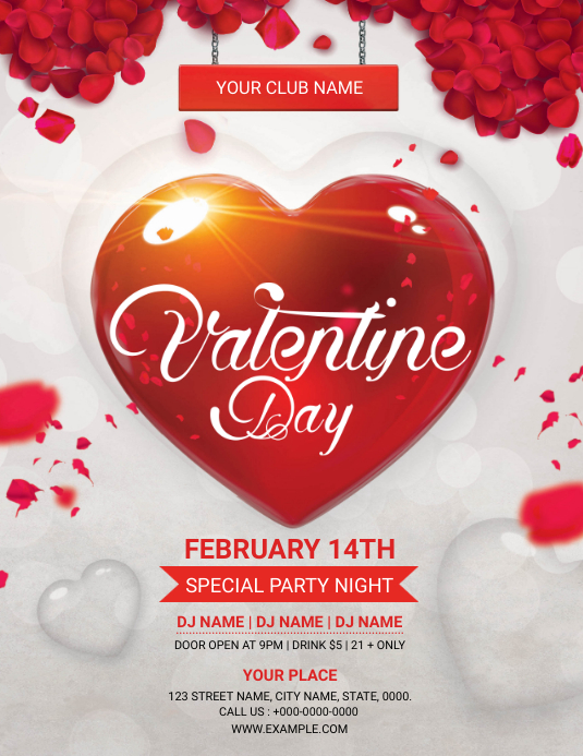 Valentines Day Party Flyer Pamflet (Letter AS) template
