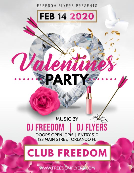 Valentines Day Party Flyer Iflaya (Incwadi ye-US) template