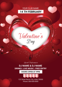 Valentines Day Party Flyer A6 template