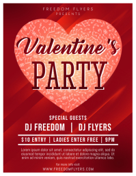Valentines Day Party Flyer Template 传单(美国信函)