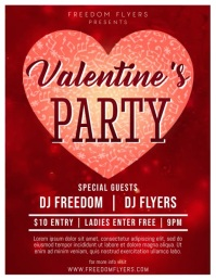 Valentines Day Party Flyer Video Template Ulotka (US Letter)