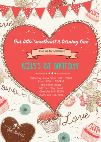 Valentines Day party Invitation A6 template