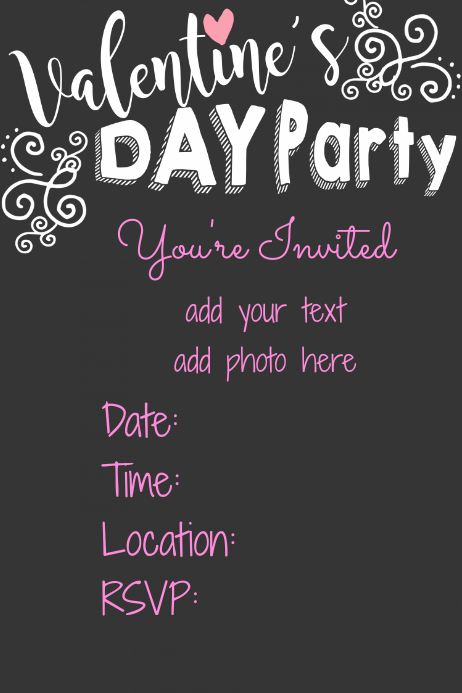 Valentines Day Party Invitation Flyer Poster Invitation Template