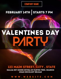 valentines day party night club flyer Рекламная листовка (US Letter) template