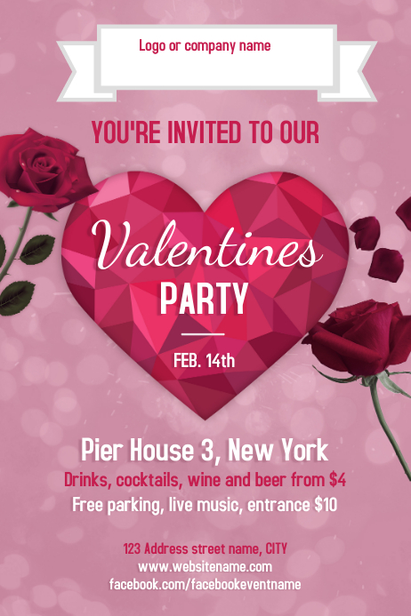 Valentines day Party Poster Template   PosterMyWall