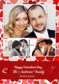 Valentines Day Photo Greeting Card A6 template