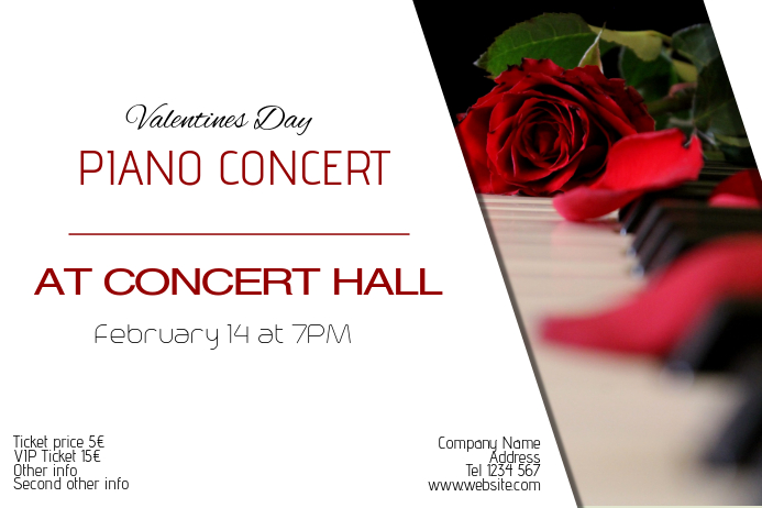 valentines day piano concert romantic event poster template