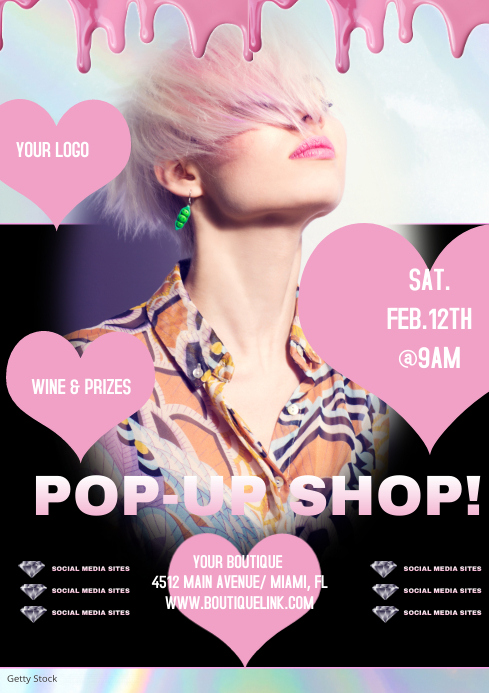 Valentines Day Pop-Up Shop Flyer Ads A4 template