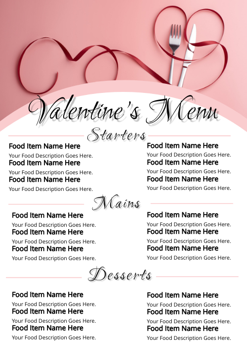 Valentine's Day Menu Template from d1csarkz8obe9u.cloudfront.net