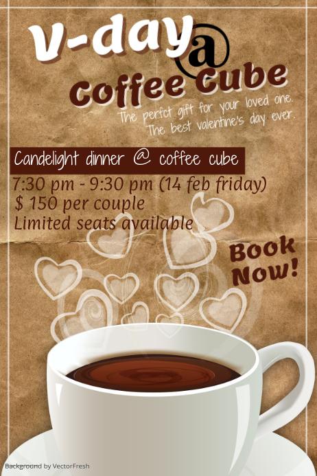 Valentines Day Restaurant Poster Template