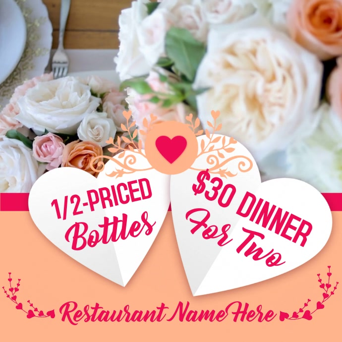 Valentines Day Restaurant Promo Video Template Postermywall
