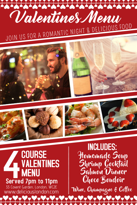 Valentines Day Restaurant Special Promo Template