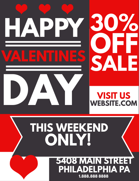 Valentines day Sale Flyer (format US Letter) template