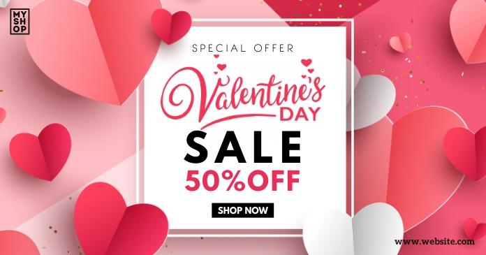 Valentines Day Sale delt Facebook-billede template