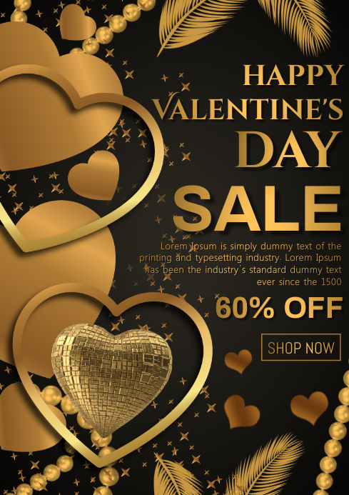 Valentines day sale A4 template