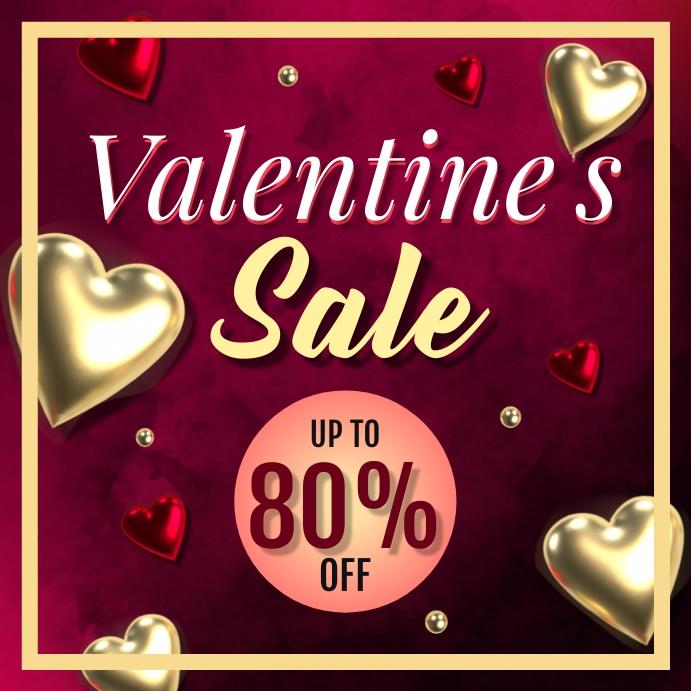 Valentines Day Sale โพสต์บน Instagram template