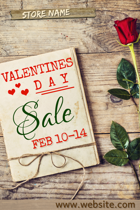 Valentines Day Sale Poster Plakat template