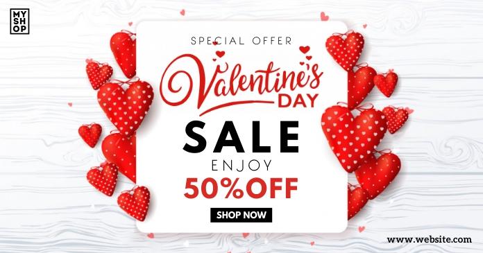 Valentines Day Sale Template delt Facebook-billede