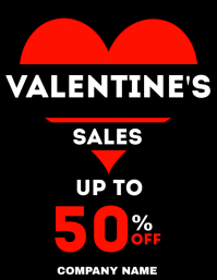 valentines day sales flyer heart advertisemen