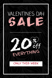 valentines day special sale portrait balck poster