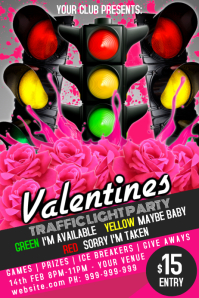 Valentines Day Traffic Light Poster template