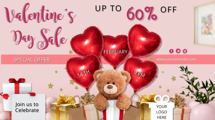 valentines day1 Digitalt display (16:9) template