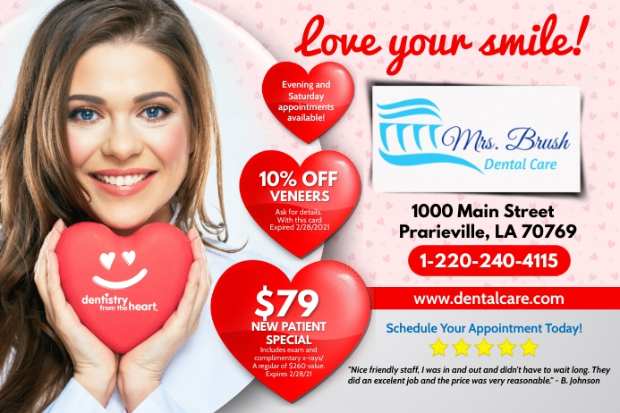Valentines Dental Ads Rótulo template