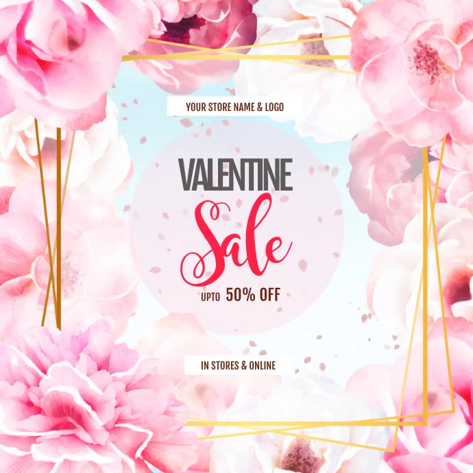 Valentines Digital Display video ad template Persegi (1:1)