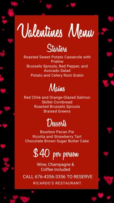 Valentines Digital Menu Template