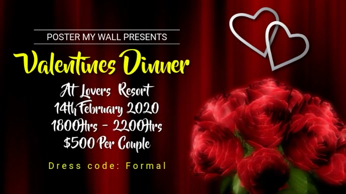 Valentines Dinner Digital na Display (16:9) template