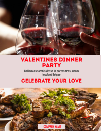 Valentines dinner party flyer advertisement template